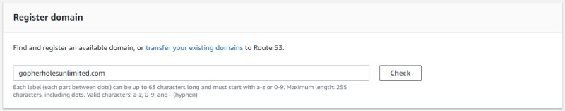 Searching for domain name availability in Route 53