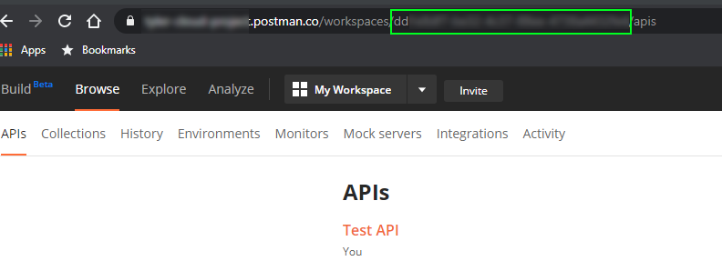 Finding the Postman workspace id